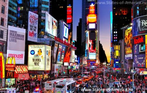 Оживленный Таймс-сквер
