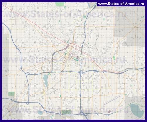 Подробная карта города Акрон