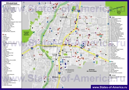 Туристическая карта Альбукерке с отелями, достопримечательностями, ресторанами и магазинами