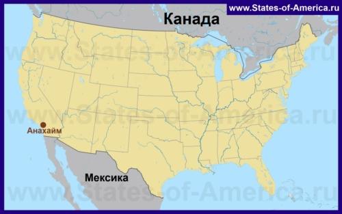 Анахайм на карте США