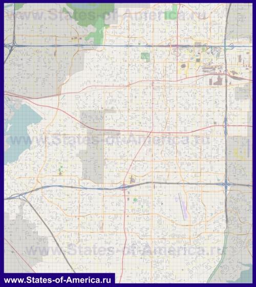 Подробная карта города Арлингтон (Техас)