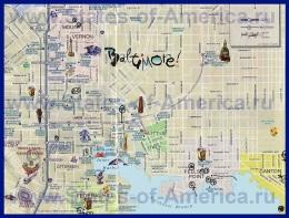 Туристическая карта Балтимора с достопримечательностями