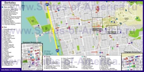Туристическая карта Беркли с отелями, достопримечательностями, ресторанами и магазинами