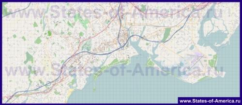 Подробная карта города Бриджпорт