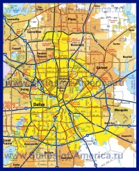 Подробная карта Далласа с окрестностями