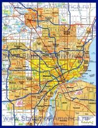 Подробная карта Детройта с окрестностями
