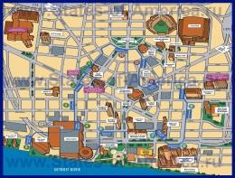 Туристическая карта центра Детройта с достопримечательностями