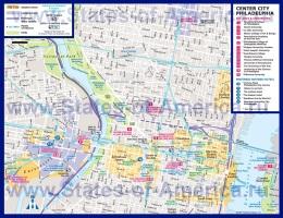 Туристическая карта Филадельфии с отелями