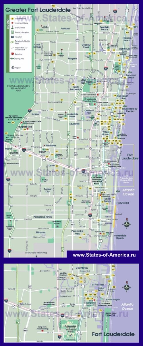 Туристическая карта Форт-Лодердейла с достопримечательностями