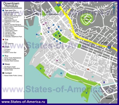 Туристическая карта Гонолулу с отелями, достопримечательностями и ресторанами