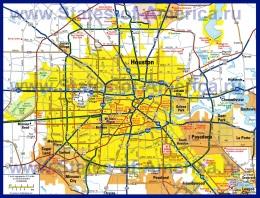 Карта Хьюстона с окрестностями