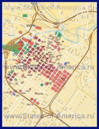 Подробная карта города Хьюстон с достопримечательностями