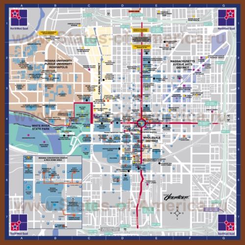 Туристическая карта Индианаполиса с достопримечательностями и парковками