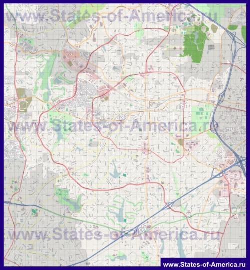 Подробная карта города Кэри