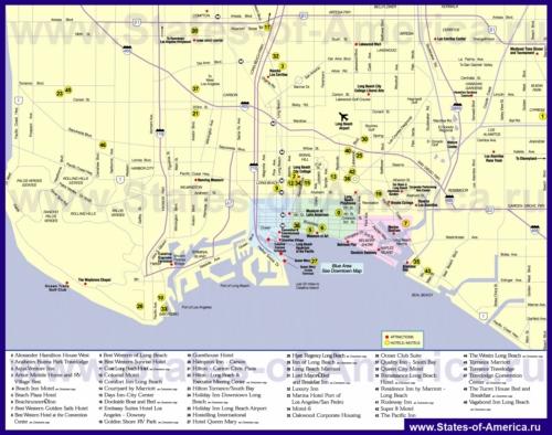 Карта отелей Лонг-Бич
