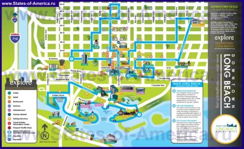 Туристическая карта Лонг-Бич с достопримечательностями, ресторанами, магазинами и парковками