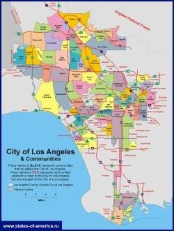 Карта Лос-Анджелеса по районам