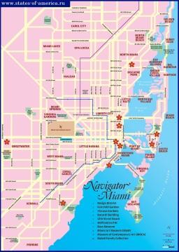 Туристическая карта Майами и Майами-Бич