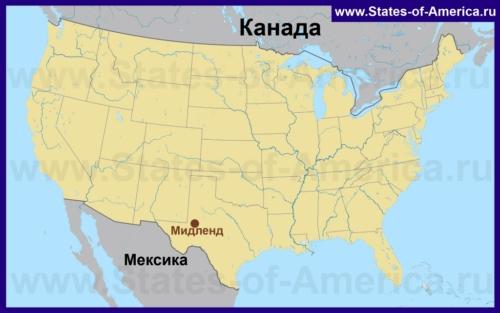Мидленд на карте США