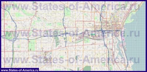 Подробная карта города Милуоки