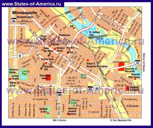 Туристическая карта Миннеаполиса с достопримечательностями
