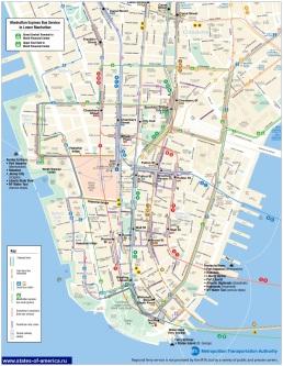 Схема Движения автобусов Манхэттена