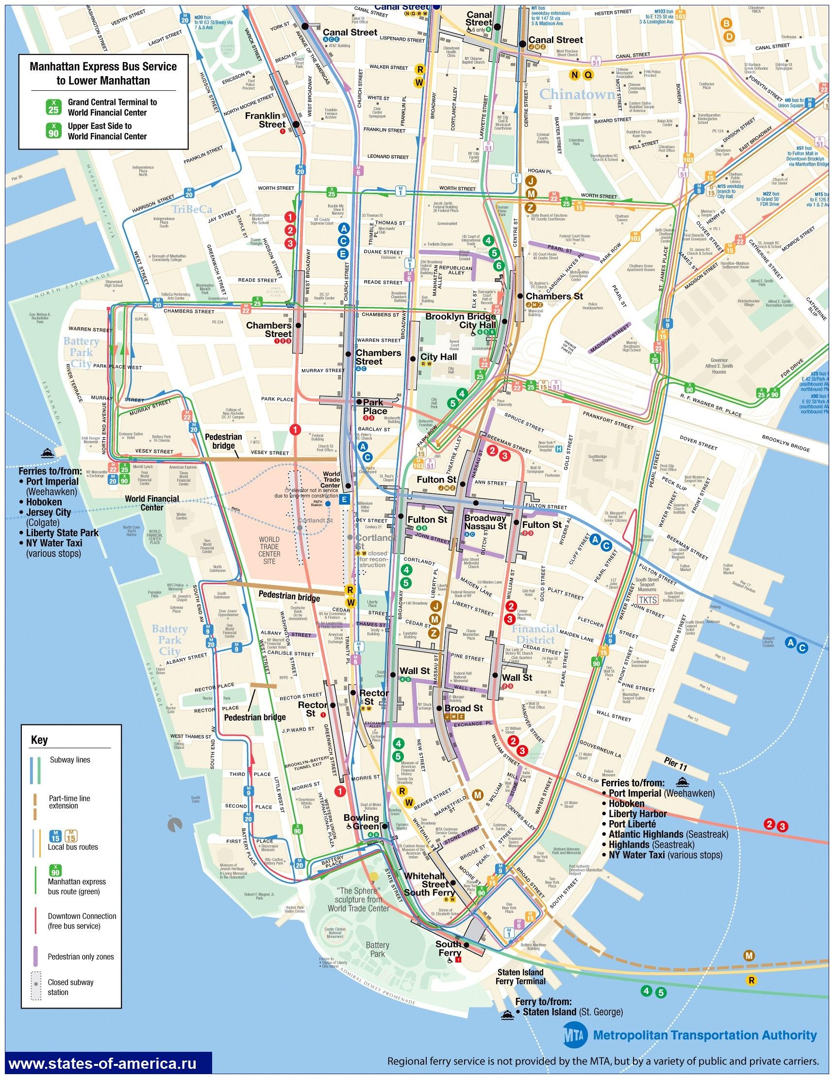 Схема Движения автобусов Манхэттена.