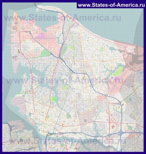 Подробная карта города Норфолк