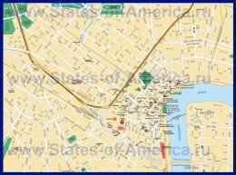 Карта центра города Новый Орлеан с достопримечательностями