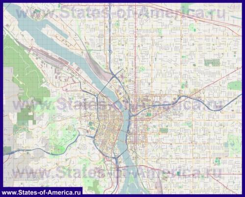 Подробная карта города Портленд