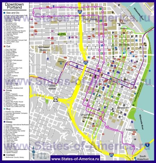 Туристическая карта Портленда с отелями, достопримечательностями, ресторанами и магазинами