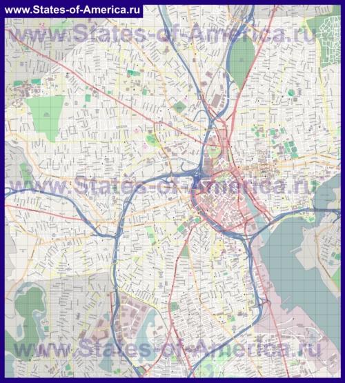 Подробная карта города Провиденс