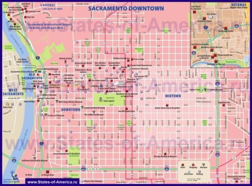 Туристическая карта Сакраменто с отелями, достопримечательностями и магазинами