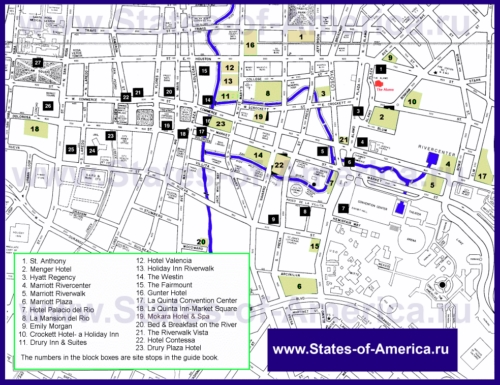 Карта отелей Сан-Антонио