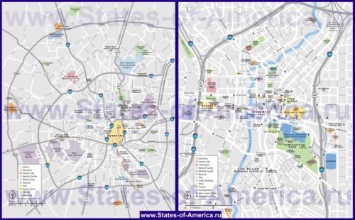 Туристическая карта Сан-Антонио с достопримечательностями и магазинами