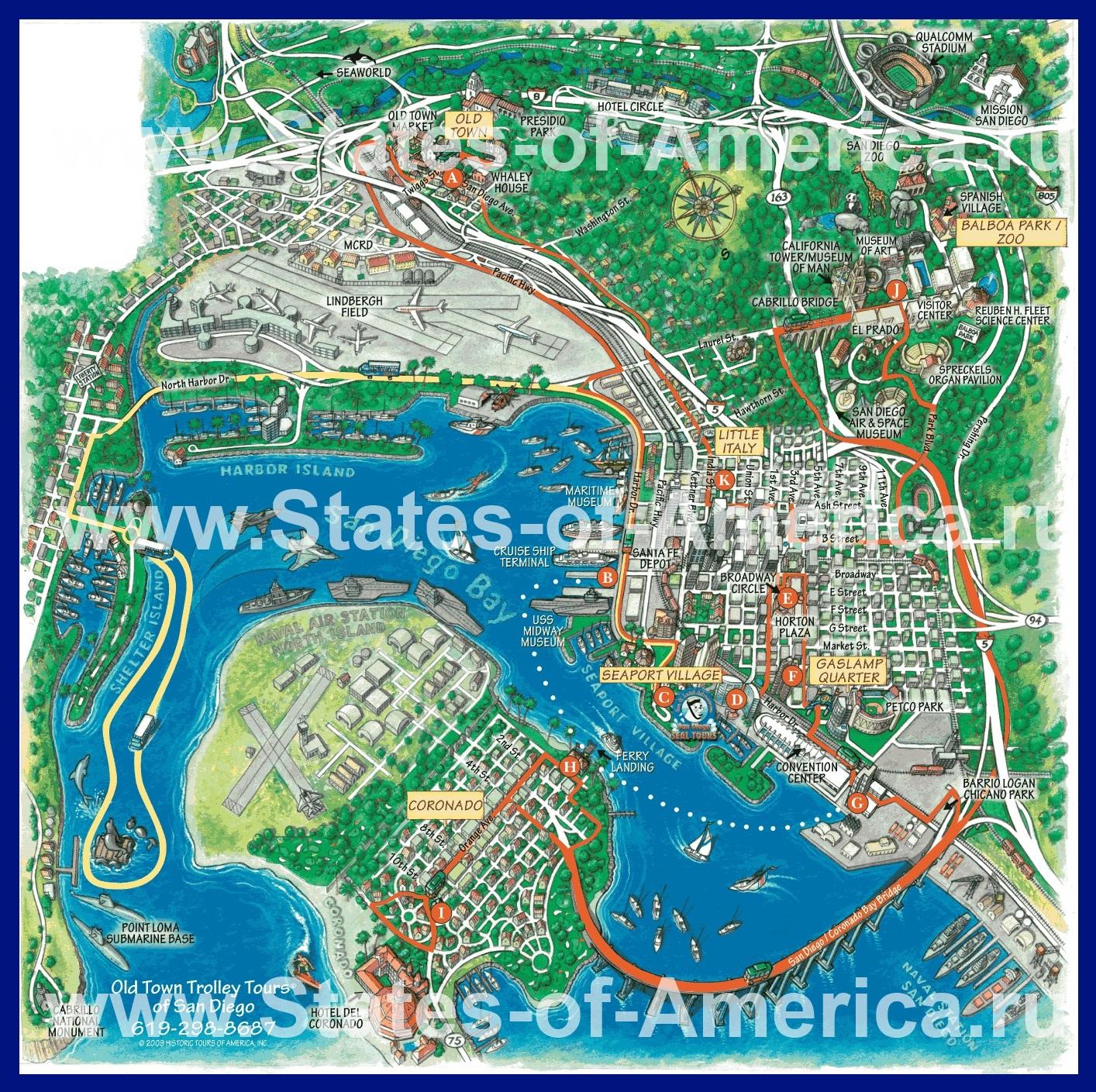 Карты Сан-Диего | Подробная карта города Сан-Диего | Сан ...: http://states-of-america.ru/karty-gorodov-ssha/san-diego/