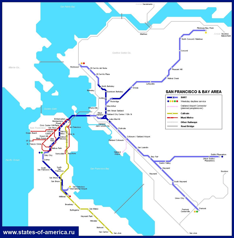 Карта метро Сан-Франциско.