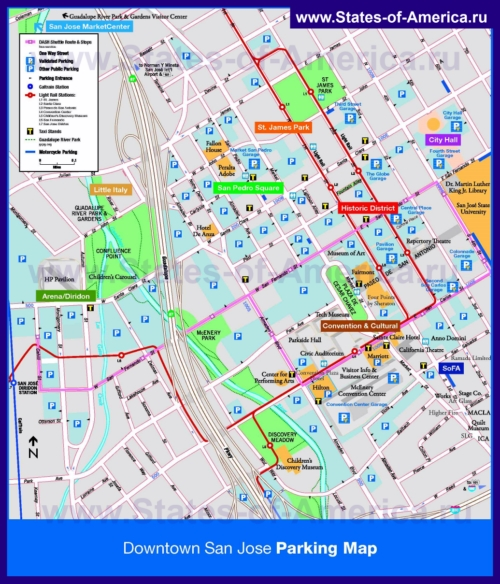 Туристическая карта Сан-Хосе с парковками, отелями и достопримечательностями