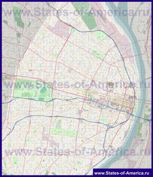 Подробная карта города Сент-Луис