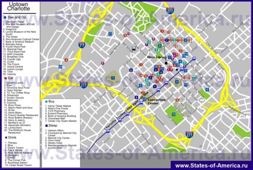 Туристическая карта Шарлотта с отелями, достопримечательностями, ресторанами и магазинами