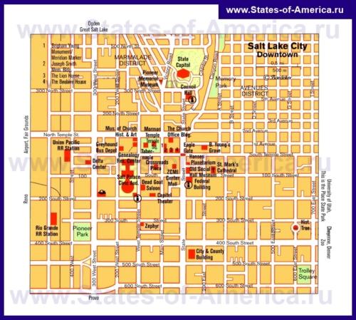 Карта Солт-Лейк-Сити с достопримечательностями