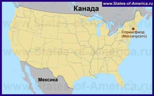Спрингфилд на карте США