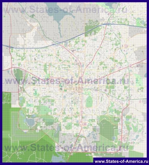 Подробная карта города Таллахасси