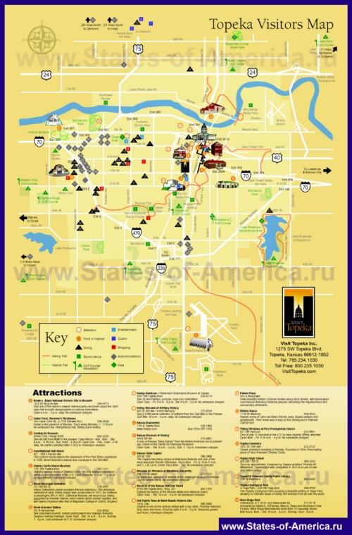 Туристическая карта Топики с отелями, достопримечательностями, ресторанами и магазинами