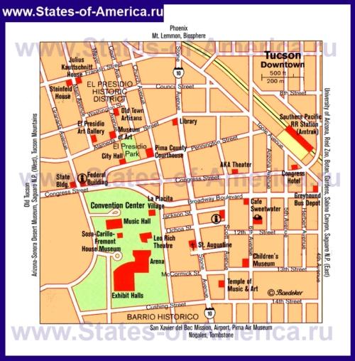 Туристическая карта Тусона с достопримечательностями