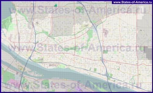 Подробная карта города Ванкувер (США)