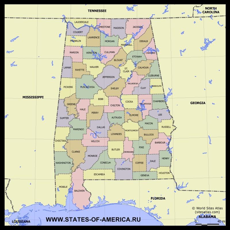 Карта Алабамы по округам