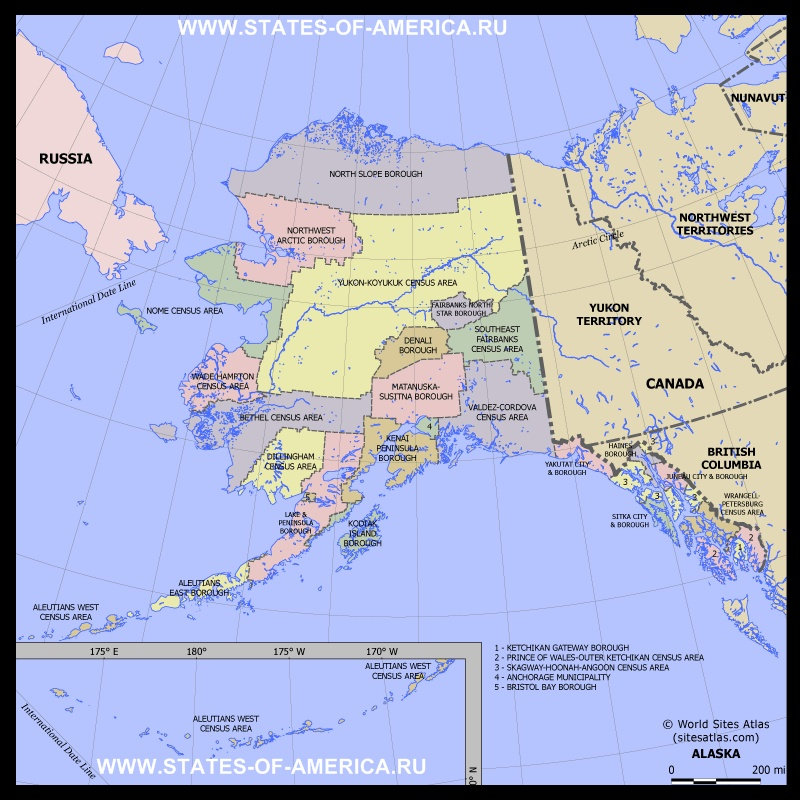 Карта Аляски по округам