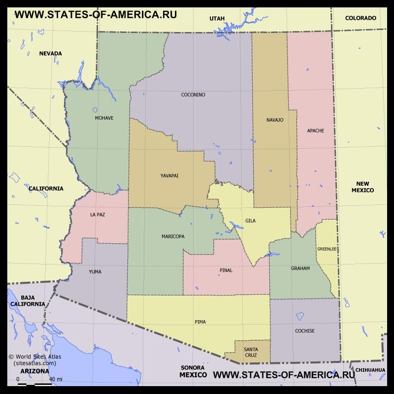 Карта Аризоны по округам
