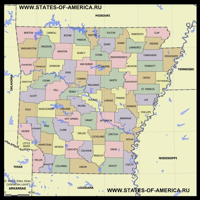 Карта Арканзаса по округам